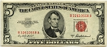 $5.00 U.S. Note ( Legal Tender) - 1953A - B32610558A, F1533, XF
