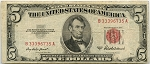 $5.00 U.S. Note (Legal Tender) Series 1953-A - B33396735A, F1533, Fine