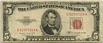 $5.00 U.S. Note (Legal Tender) Series 1953-B - C52707329A, F1534, VG
