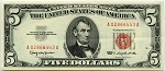 $5.00 U.S. Note (Legal Tender) 1963 - A02866443A, F1536, AU