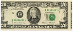 $20.00 Federal Reserve Note - Error - Faulty alignment 2nd/3rd. Print, F2075E, AU/Unc