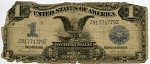 $1.00 Silver Certificate Series 1899 - Z81774778Z, F233, Rag, writing on reverse