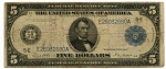 $5.00 Federal Reserve Note Series 1914 Blue Seal - E26032680A - Richmond, F863A, VG - Tear Center Top