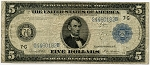 $5.00 Federal Reserve Note Series 1914 Blue Seal - G4460182B - Chicago,F871A,Rag