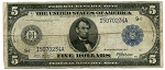 $5.00 Federal Reserve Note Series 1914 Blue Seal - G91717264A, F876, VG