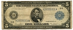 $5.00 Federal Reserve Note Series 1914 Blue Seal - K23335301A, F887A, VG