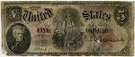 $5.00 U.S. Note (Legal Tender) Series 1907 - H65954371, F90, Rag