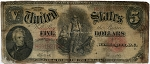 $5.00 U.S. Note (Legal Tender) Series 1907 - H69192752, F90, Rag