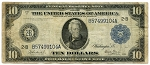 $10.00 Federal Reserve Note Series 1914 Blue Seal - B57499104A - New York, F909, VG