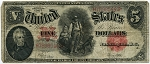 $5.00 U.S. Note (Legal Tender) Series 1907 - H78985449, F91, Fine