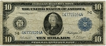 $10.00 Federal Reserve Note Series 1914 Blue Seal - G47715164A  - Chicago,F930,VG