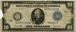 $10.00 Federal Reserve Note Series 1914 Blue Seal - G83502560A - Chicago, F931A, Rag