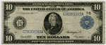 $10.00 Federal Reserve Note Series 1914 Blue Seal - G78269282A - Chicago, F931B, VG