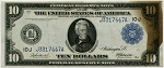 $10.00 Federal Reserve Note Series 1914 Blue Seal - J3317447A - Kansas City, F940, CU -  Brown stain on right  side of note