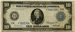 $10.00 Federal Reserve Note Series 1914 Blue Seal - L799376A - Dallas, F944, VG