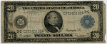 $20.00 Federal Reserve Note Series 1914 Blue Seal - C27245186A - Philadelphia, F975, VG - Rough Edges