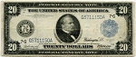 $20.00 Federal Reserve Note Series 1914 Blue Seal - G5711150A - Chicago, F988, VG-Washed