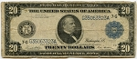 $20.00 Federal Reserve Note Series 1914 Blue Seal - G35063323A - Chicago, F991A, VG-Tear from Bottom edge up through Mellon Signature