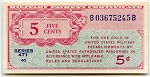5 Cent Military Payment Certificate Series 471, MPC-8, CU