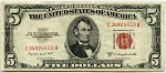$5.00 U.S. Note (Legal Tender) 1953B - C34924510A, F1534, VF