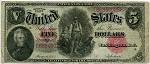 $5.00 U.S. Note (Legal Tender) Series 1907 - E66848025, F88, Fine
