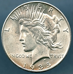 1935 S Peace Dollar Choice B.U. MS-63
