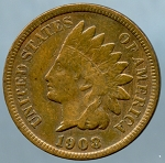 1908 S Indian Cent VF-20- Light scratch on obverse