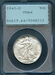 1943 D Walking Half Dollar PCGS MS-64