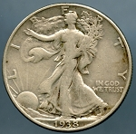 1938 D Walking Half Dollar Fine