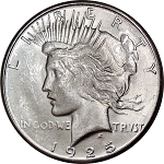 1925 S Peace Dollar Choice B.U. MS-63