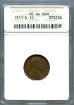 1911 D Lincoln Cent ANACS MS 64 BRN