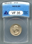 1932 S Washington Quarter ANACS VF-35