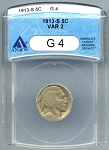 1913 S T2 Buffalo Nickel ANACS Good 4