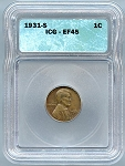 1931 S Lincoln Cent ICG XF-45