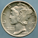 1942/1 D Mercury Dime Choice XF-45 Light porosity