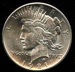 1921 Peace Dollar Choice B.U. MS-63