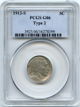 1913 S T2 Buffalo Nickel PCGS G6