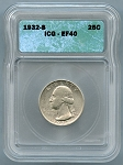 1932 S Washington Quarter ICG XF-40