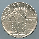 1920 Standing Quarter Choice AU-55