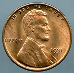 1931 S Lincoln Cent Choice B.U. MS-63
