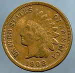1908 S Indian Cent Fine +