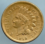 1859 Indian Cent XF40
