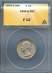 1932 S Washington Quarter ANACS F-12