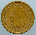 1908 S Indian Cent Good- Light spots obverse