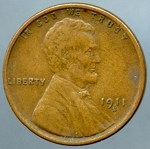 1911 S Lincoln Cent Choice VF-35