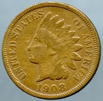 1908 S Indian Cent About Fine- Small spot reverse