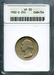 1932 S Washington Quarter ANACS VF-20