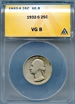 1932 S Washington Quarter ANACS VG-8