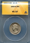 1932 S Washington Quarter ANACS VG-10