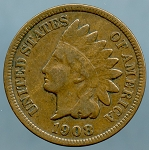 1908 S Indian Cent - Almost Fine